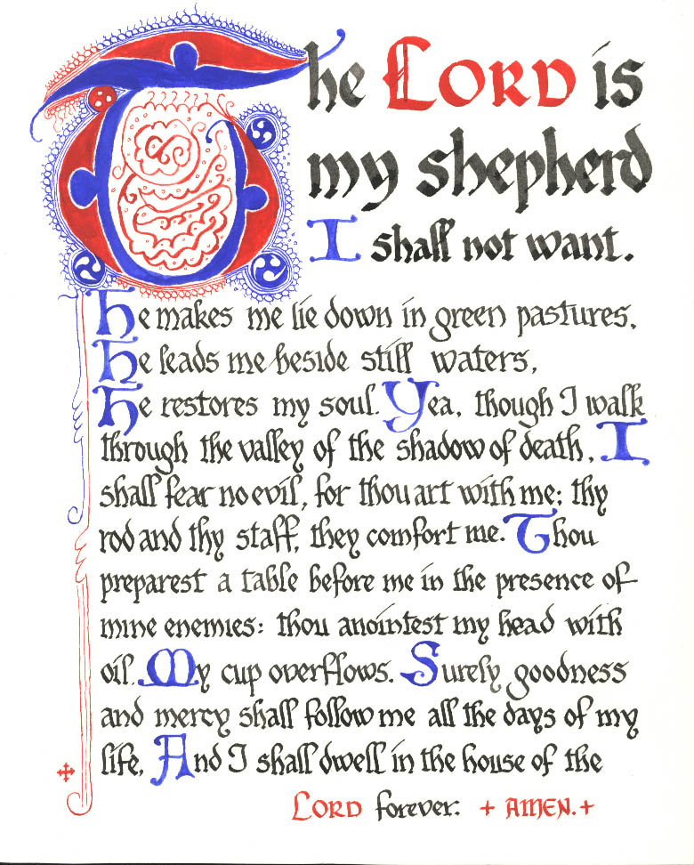 Peaceful image with psalm 23 printable